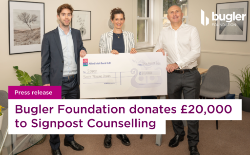 Press release: The Bugler Foundation donates £20,000 to Signpost Counselling